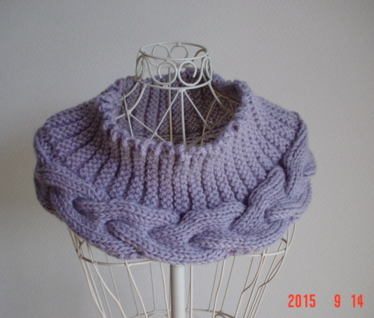 ☆彡淡purpleのガーター&アラン模様のカウル
