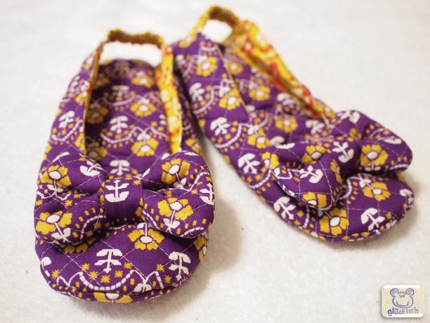 リボンのルームシューズ/レトロな花柄/収納巾着付き