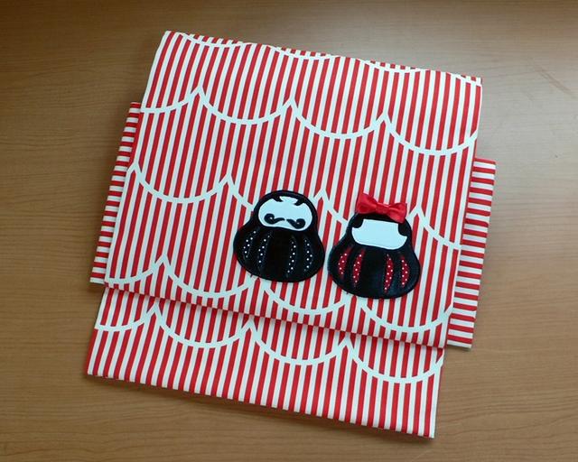 【sold out】ヒメノルミ&オーサカキモノコラボ作り帯 『ドン☆コケシ』夫婦帯