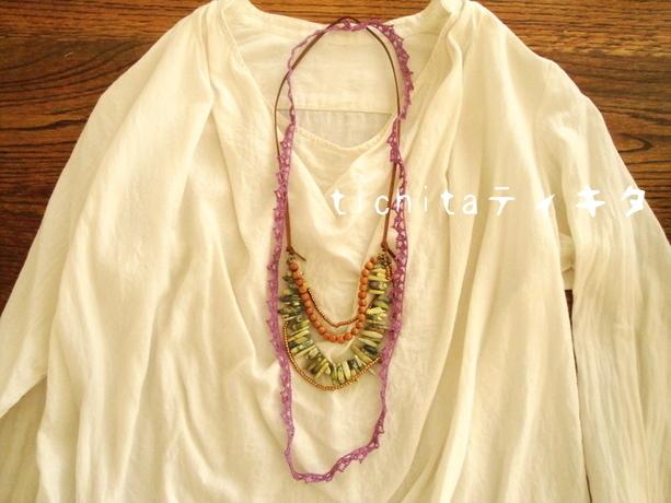 レース編みと天然石のネックレス