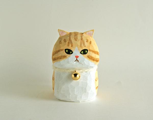 木彫り人形ねこ クリームベージュ縞×白  [MWF-110]