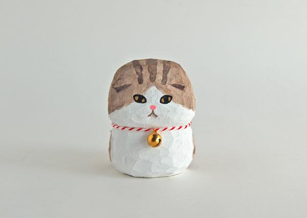 木彫り人形 スコティッシュ グレイッシュブラウン縞×白 [MWF-111]