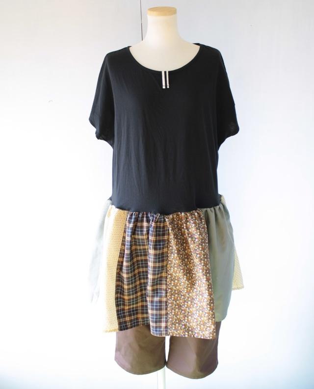 ドルマンスリーブTシャツ リメイクワンピ 黒×森色