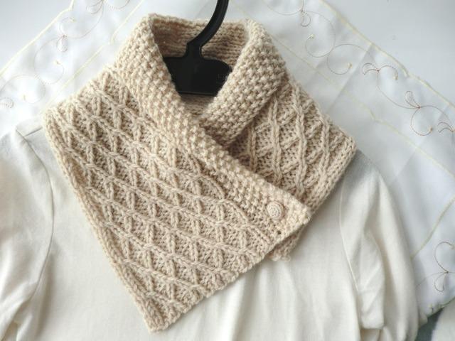 模様編みのあったかミニマフラー
