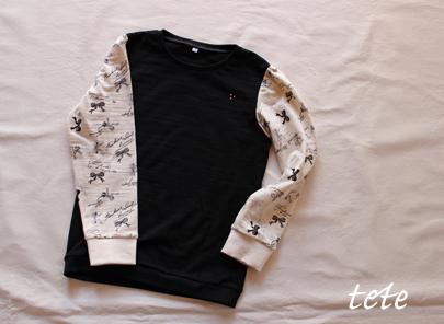 【size130】長袖パフスリーブTシャツ(black×ribbon)
