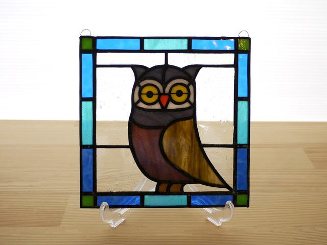 ステンドグラスパネル フクロウ Mサイズ