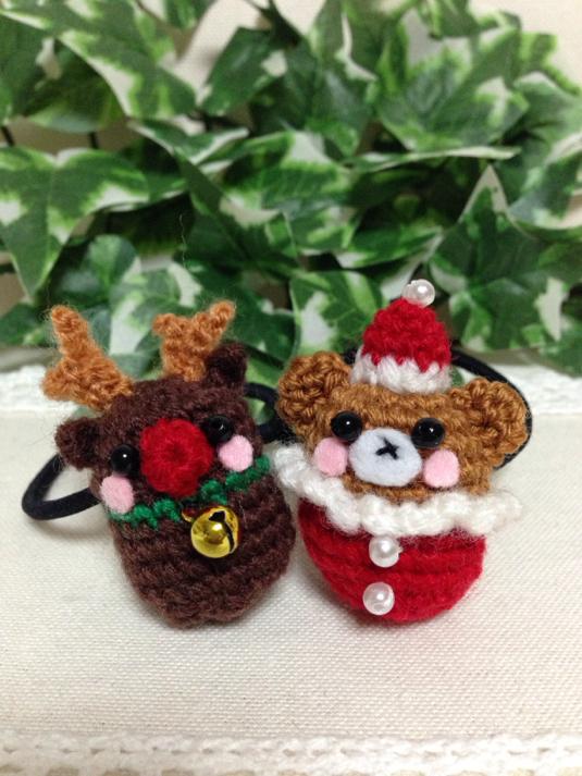 オーダー受付中!クリスマス・サンタさん&トナカイ・あみぐるみ・ヘアゴム・子ども用