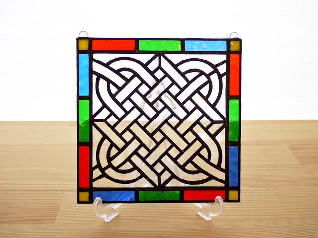ステンドグラス ミニパネル 組み紐 15cm