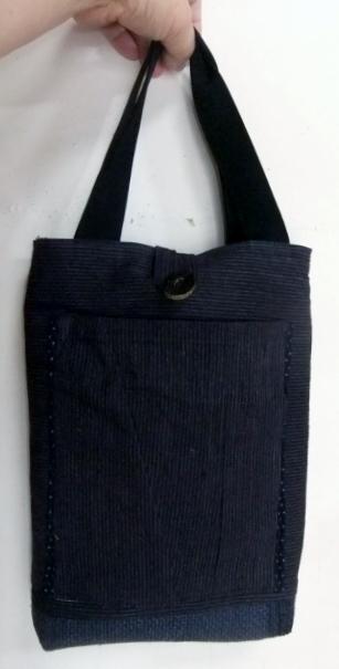 唐桟縞の着物で作った手提げ袋 599