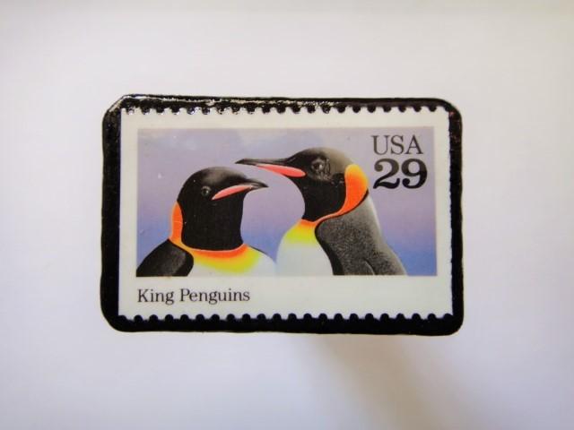 アメリカ 「ペンギン切手ブローチ091