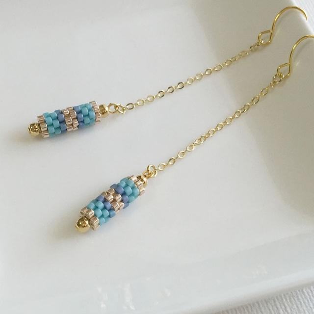 Tube beads earrings  Blue  〜ブルーの揺れるチューブピアス