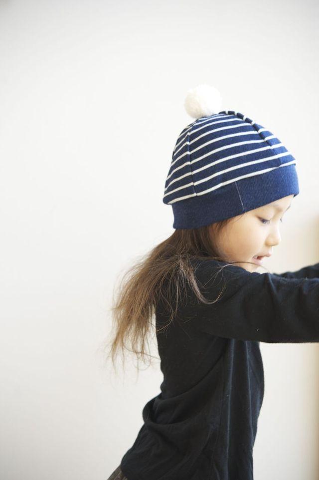 【再販】kidsニットベレー(ボーダーインディゴブルー)Mサイズ