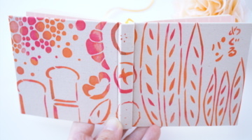 「めぐるパン」 型染め手帳 手のひらノート