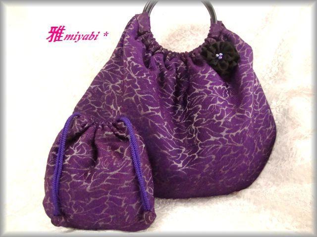 紫系秋冬グラニープチ巾着コサージュ付き