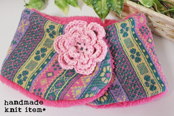 編みお花*やわらかネックウォーマー*ピンクチロル