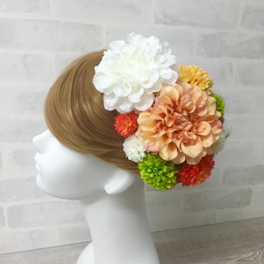 豪華オレンジダリアの髪飾り