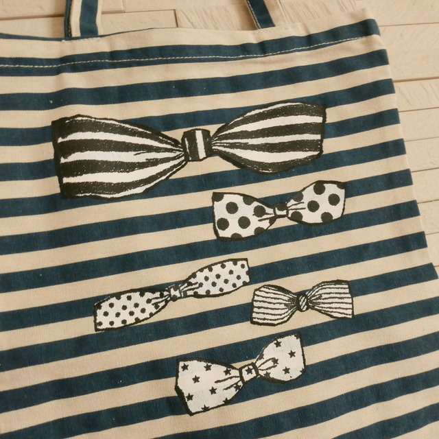 STRIPE TOTE BAG -RIBBONS-