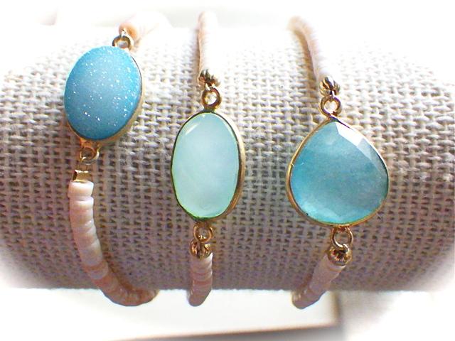 Framed Gemstone Beach Bracelet--chacedony