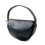 本革 半月ハンドバッグ 黒 Half-moon leather shoulder bag black
