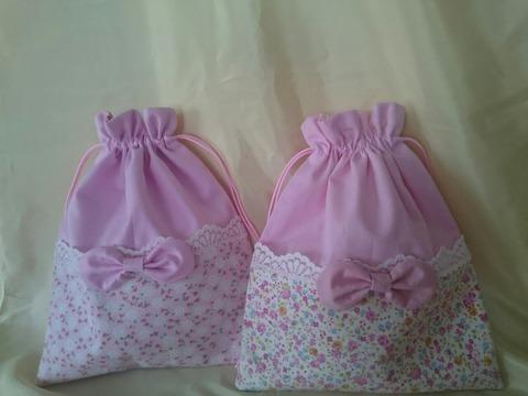 女の子巾着ピンクリボン2点セット(172.174)