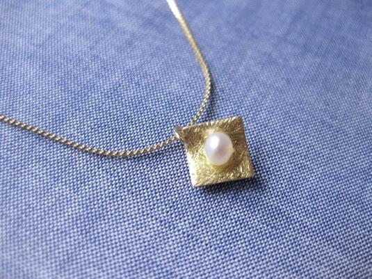 小さなメタル×パールネックレス No.158