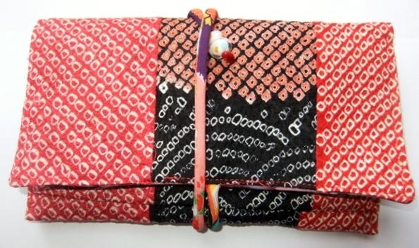 着物リメイク 絞りの羽織で作った和風財布 617