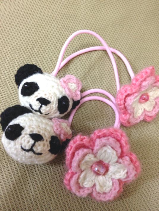 119  パンダちゃん お花 ヘアゴム2個セット