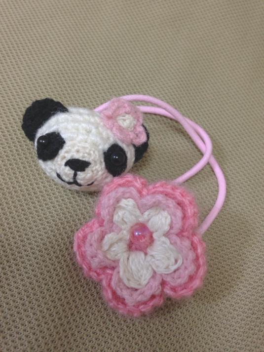 119-2 パンダちゃん お花 ヘアゴム 1個