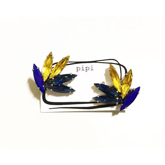 kyky様 order page ◆ blue×yellow vintage SWAROVSKI イヤリング