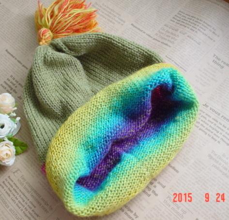 ☆彡揺れるタッセル付knit帽子(rainbow collar)