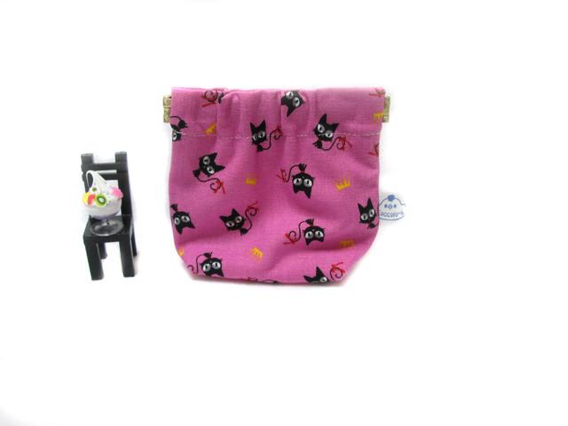 ミニバネポーチ★ピンクのネコちゃん