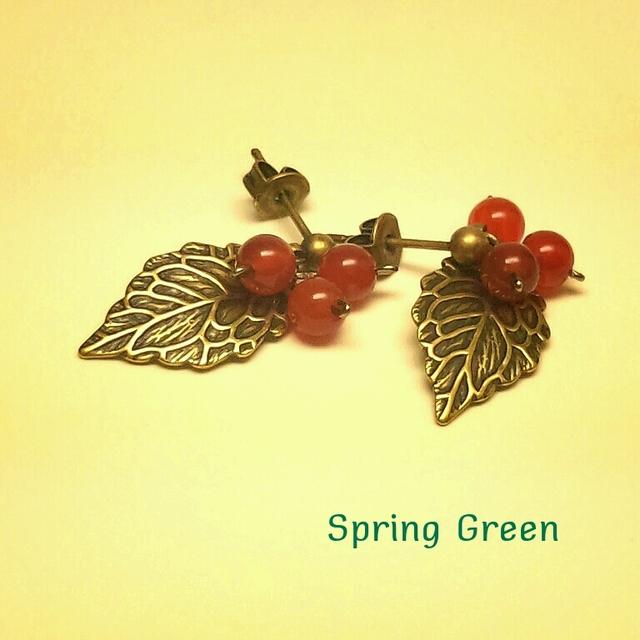 赤メノウの木の実ピアス
