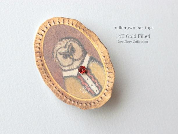 milkcrown1粒ピアス14KGF宝石質/1個売り