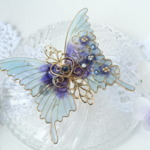 レインブルーの蝶バレッタ(hair ornaments of rainy blue flower butterfly).