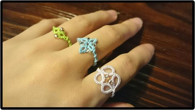 タティングレースの指輪3種