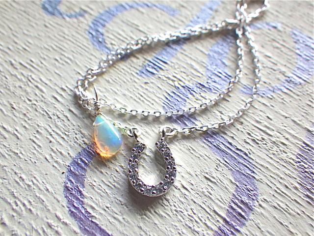 Tiny Horseshoe with Opal   sv925