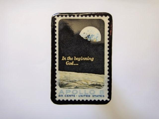 アメリカ 1969年アポロ8号切手ブローチ102