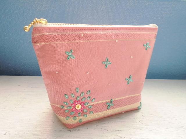 チュニジア布のポーチ(ピンク)