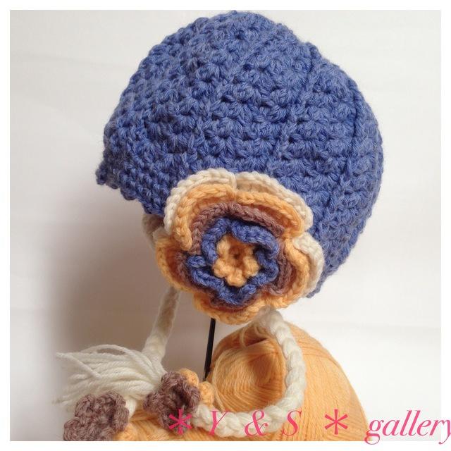【受注製作】お花の耳当てニット帽  ブルー