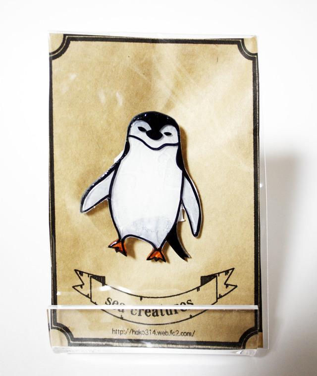 プラ版ブローチ【ヒゲペンギン】
