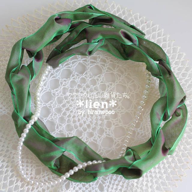 【リボンのネックレス】 lien・・・グリーン