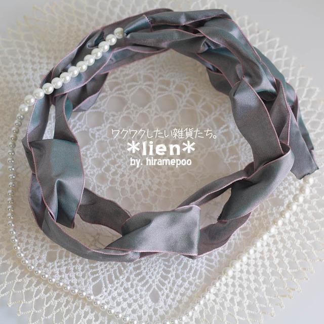 【リボンのネックレス】 lien・・・ピンクグレー