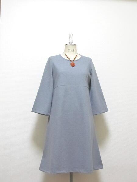 高級ウール☆大人のAラインドレス(八分袖)