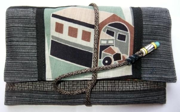 着物リメイク 麻の着物で作った和風財布 624