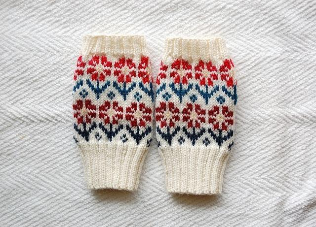 手編みの指なしミトン【ウィンターガーデン】