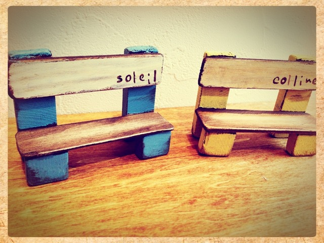 送料無料*木製ミニチュアベンチ