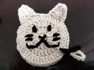 猫型アクリルたわし☆小・ベージュ