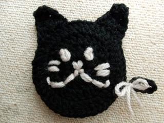 猫型アクリルたわし☆小・黒