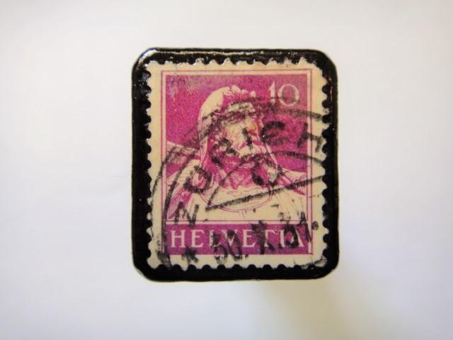 スイス 1921年「ウイリアムテル切手ブローチ」104