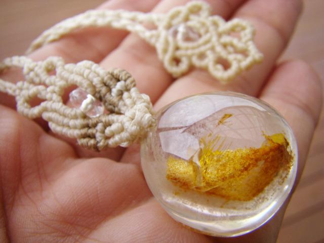 ファントムガーデンクォーツのマクラメ編みネックレス